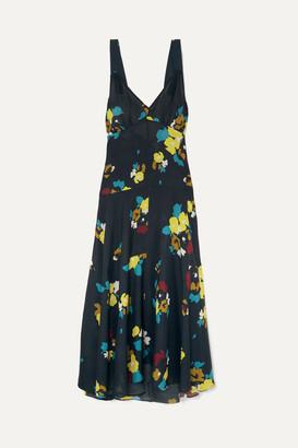 Maeve Lee Mathews Floral-print Silk Maxi Dress - Navy