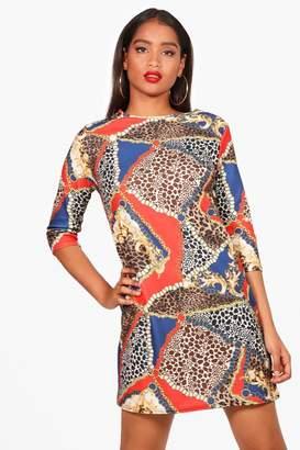 boohoo Leopard Print Mix 3/4 Sleeve Shift Dress