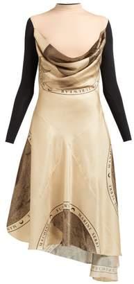 Marine Serre Layered Silk Blend Dress - Womens - Brown Multi