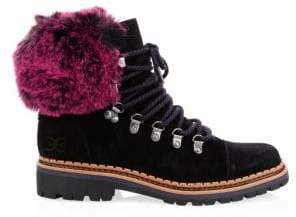 Sam Edelman Bowen Faux Fur-Trim Suede Hiking Boots