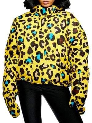 Topshop Leopard-Print Parka with Faux Fur Collar
