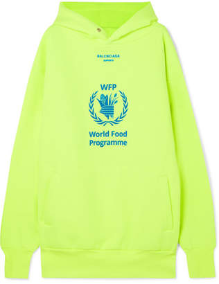 Balenciaga World Food Programme Printed Neon Cotton-blend Jersey Hoodie - Yellow