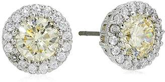 Kenneth Jay Lane Cz By Women's Round Canary Cubic Zirconia Stud Earrings With Halo