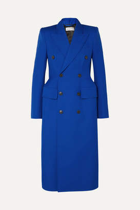 Balenciaga Hourglass Double-breasted Wool-blend Coat - Blue
