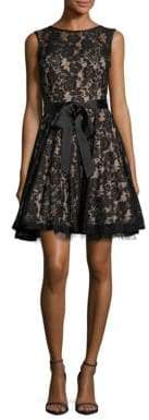 Betsy & Adam Floral Lace Sash Fit-&-Flare Dress