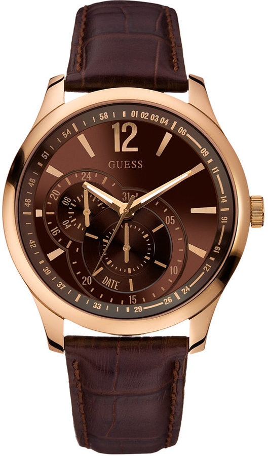 GUESS Watch, Men's Brown Leather Strap 45mm U10627G1