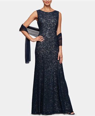Alex Evenings Petite Sequinned Lace Gown & Shawl