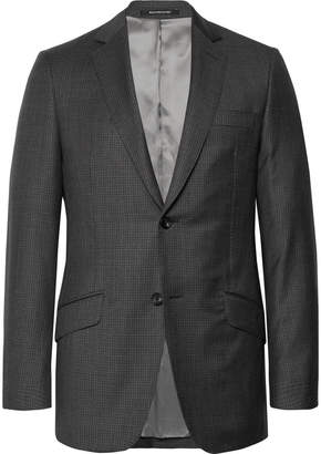 Richard James Charcoal Slim-Fit Checked Wool Blazer