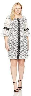 Gabby Skye Women's Plus Size Full Figured Decorative Striped Lace Dress