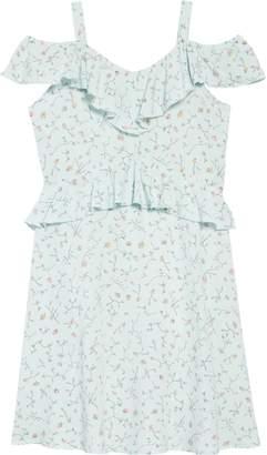 BCBGMAXAZRIA Floral Print Cold Shoulder Ruffle Dress