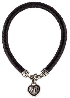 Kieselstein-Cord Braided Leather Heart Necklace