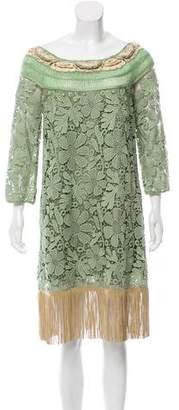 Alberta Ferretti Crochet-Trimmed Midi Dress