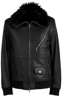 Pretty Green Faux Fur Collar Leather Jacket