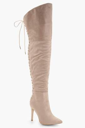 boohoo Sadie Lace Back Over the Knee Boots