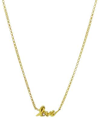 Yvonne Henderson Jewellery - Love Script Necklace with White Sapphire Gold
