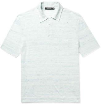Ermenegildo Zegna Logo-Embroidered Melange Cotton and Linen-Blend Polo Shirt - Men - Blue