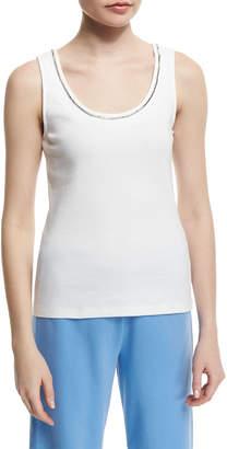 Joan Vass Sleeveless Chain-Trim Tank, White