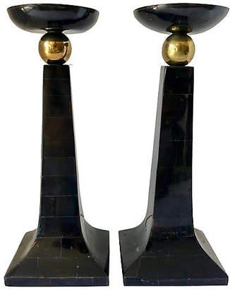 One Kings Lane Vintage M.Smith Stone & Brass Candle Holders - nihil novi