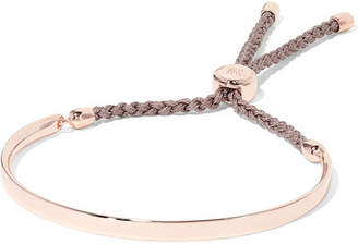 Monica Vinader Fiji Rose Gold Vermeil And Woven Bracelet