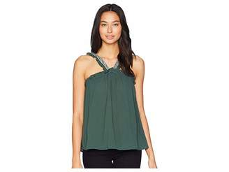1 STATE 1.STATE High Neck Blouse with Embroidered Trim