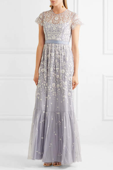 Needle & Thread - Meadow Embroidered Tulle Gown - Light blue 3