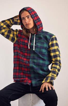 PacSun Plaid Mix Hooded Long Sleeve Button Up Shirt