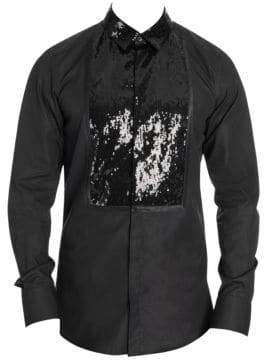 Dolce & Gabbana Sequin Front Tuxedo Button-Down Shirt