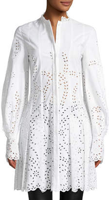 Oscar de la Renta Long-Sleeve Button-Front Eyelet Shirtdress