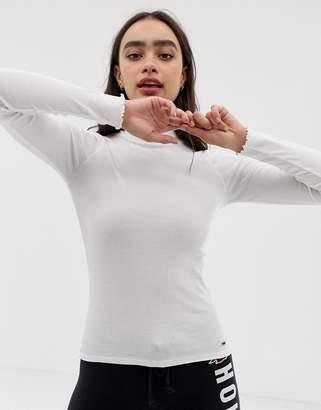 Hollister long sleeved top with high neck & crinkle hem