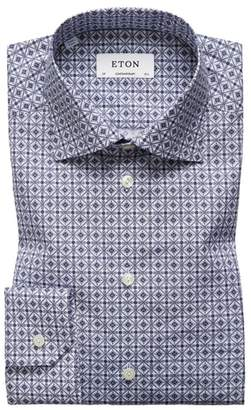 Eton Contemporary Fit Geometric Dress Shirt