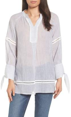 Caslon Striped Tie Sleeve Pullover