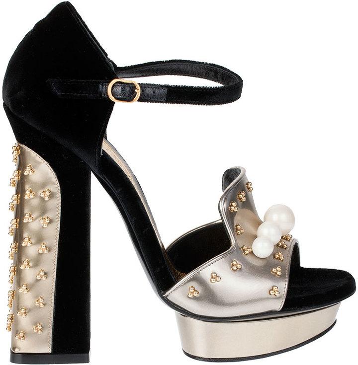 Alexander McQueen Embellished velvet and metallic leather sandals