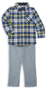 Little Boy's Three-Piece Plaid Shirt, Jeans and Tie Set