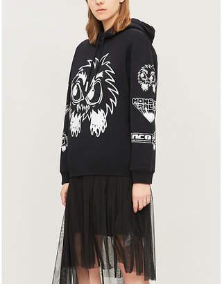 McQ Monster-print slogan cotton-jersey hoody
