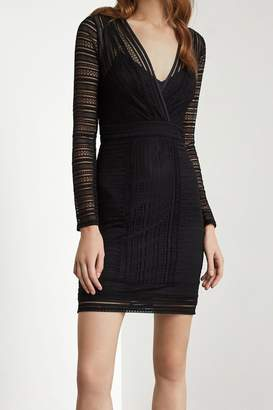 BCBGMAXAZRIA V-Neck Long Sleeve Knit Dress