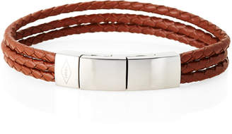Fossil Brown Leather Braided Strand Bracelet