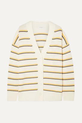 Equipment Elder Striped Wool And Cashmere-blend Cardigan - Cream