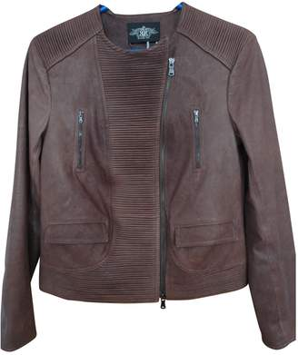 Rachel Roy Brown Leather Leather Jacket for Women