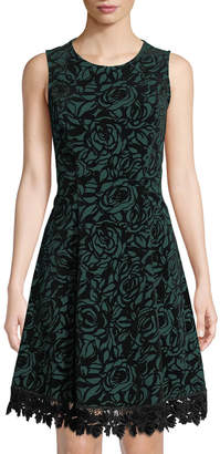Donna Ricco Floral Lace-Trimmed Flocked Scuba Dress