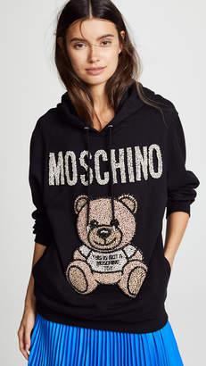 Moschino Crystal Embellished Bear Hoodie