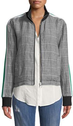 Current/Elliott Dassen Plaid Side-Stripe Linen Bomber Jacket