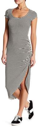 Couture Go Asymmetrical Short Sleeve Striped Dress