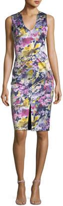 Black Halo Coral Sleeveless Floral-Print Sheath Dress
