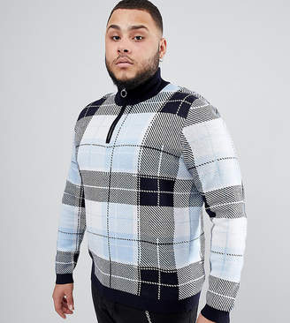 Asos DESIGN Plus knitted turtleneck check sweater with zip in blue