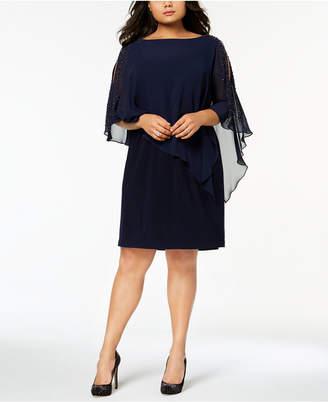 Xscape Evenings Plus Size Beaded Chiffon Popover Dress