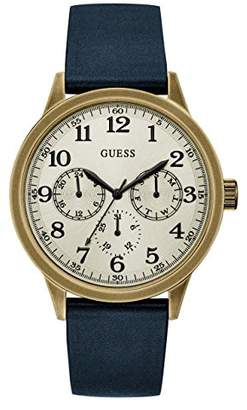 GUESS Men's Stainless Steel Smooth Leather Watch