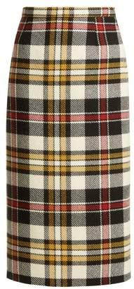 Miu Miu - Tartan Wool Pencil Skirt - Womens - Ivory Multi