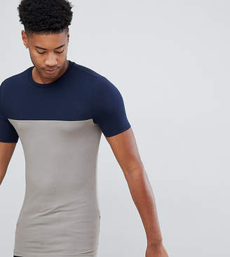 43b5e50dc Asos Design DESIGN Tall muscle fit t-shirt with contrast yoke in navy