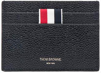 Thom Browne Pebble Grain Single Cardholder in Black   FWRD