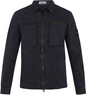 STONE ISLAND Point-collar cotton-gabardine overshirt $255 thestylecure.com